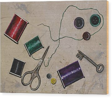 Sewing Notions Wood Print by Sandy Clift