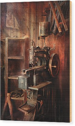 Sewing - Sewing Machine For Saddle Making Wood Print by Mike Savad