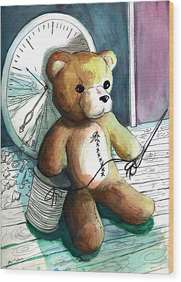 Sewn Up Teddy Bear Wood Print