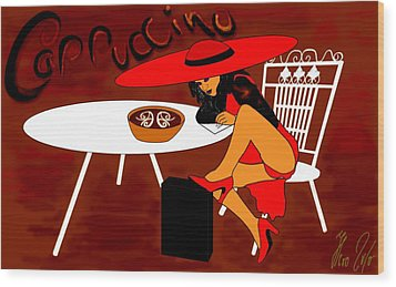 Sexy Cappuccino Wood Print by Helmut Rottler