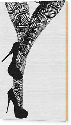 Sexy Legs In Stilettos Wood Print by Marius Sipa