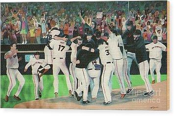 Sf Giants 2010 World Series Championship Celebration Wood Print by Pete  TSouvas