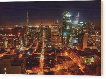 Wood Print featuring the photograph Sf Gotham City by Peter Thoeny
