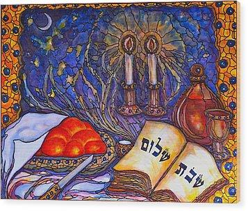Shabbat Shalom Wood Print by Rae Chichilnitsky