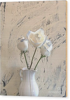 Shabbi Chic Roses Wood Print by Marsha Heiken