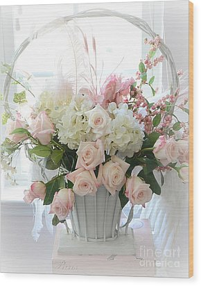 Shabby Chic Basket Of White Hydrangeas - Pink Roses - Dreamy Shabby Chic Floral Basket Of Roses Wood Print by Kathy Fornal