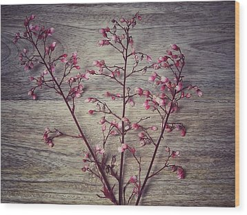 Shabby Chic Coral Bell Flowers Wood Print