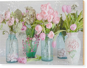Shabby Chic Cottage Ball Jars And Tulips Floral Photography - Mason Ball Jars Floral Photography Wood Print by Kathy Fornal
