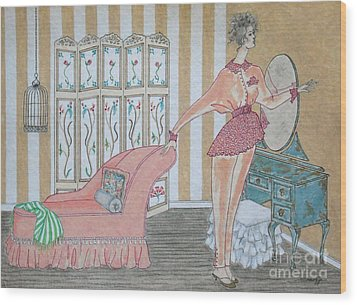 Shabby Chic -- Art Deco Interior W/ Fashion Figure Wood Print