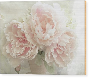 Wood Print featuring the photograph Shabby Chic Romantic Pastel Pink Peonies Floral Art - Pastel Peonies Home Decor by Kathy Fornal