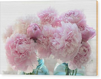 Shabby Chic Romantic Pink Peonies In Aqua Mason Jars - Shabby Cottage Aqua Pink Paris Peonies Wood Print by Kathy Fornal