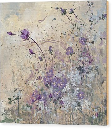 Wood Print featuring the painting Shabby Eleven by Laura Lee Zanghetti
