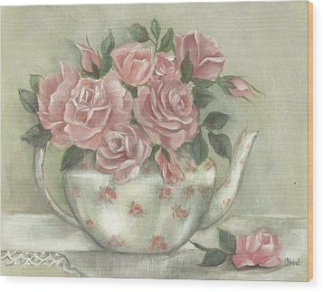 Shabby Teapot Rose Painting Wood Print