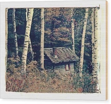 Shack And Birch Trees Wood Print by Joe  Palermo