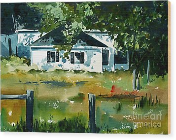 Wood Print featuring the painting Shaded Porch by Charlie Spear
