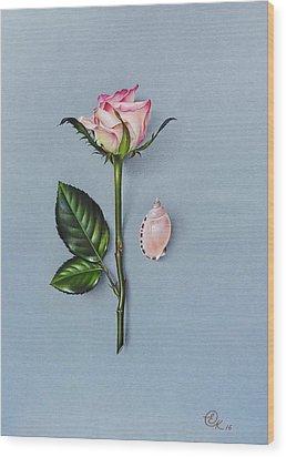 Wood Print featuring the drawing Shades Of Pink by Elena Kolotusha