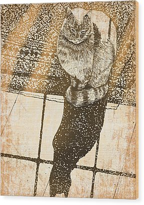 Shadow Cat Wood Print by Laura Brightwood