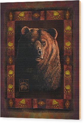 Shadow Grizzly Wood Print by JQ Licensing