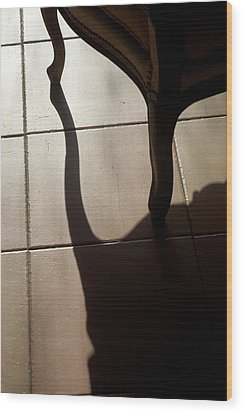 Shadow Of An Armchair On A Tiled Floor Wood Print by Sami Sarkis