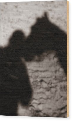 Shadow Of Horse And Girl - Vertical Wood Print by Angela Rath