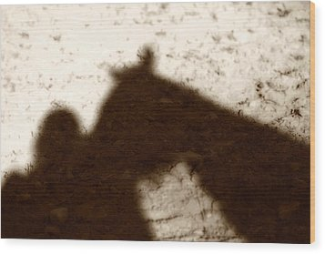 Shadow Of Horse And Girl Wood Print by Angela Rath