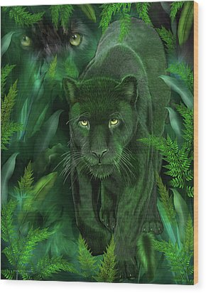 Wood Print featuring the mixed media Shadow Of The Panther by Carol Cavalaris