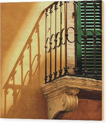 Shadows And Green Shutter Wood Print