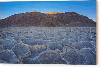 Shadows Fall Over Badwater Wood Print