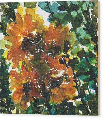 Shadows Of Sunflowers Wood Print by Garima Srivastava