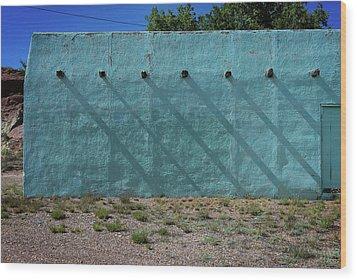 Shadows On Turquoise Wall Wood Print
