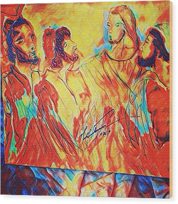 Shadrach, Meshach And Abednego In The Fire With Jesus Wood Print