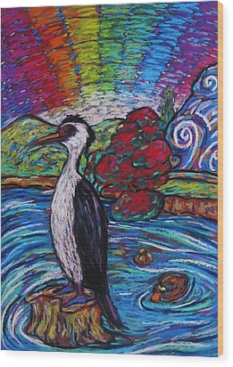 Shag On A Rock Wood Print