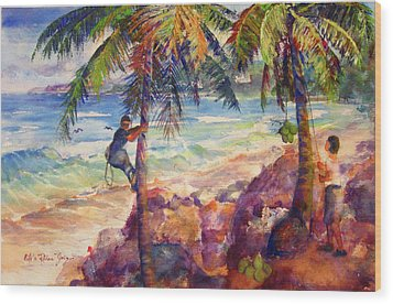 Shaking Down Coconuts Wood Print by Estela Robles