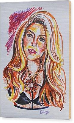 Shakira Wood Print