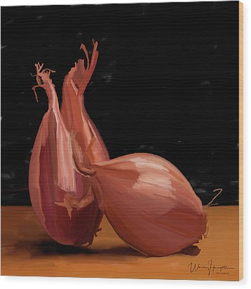 Shallots 01 Wood Print by Wally Hampton