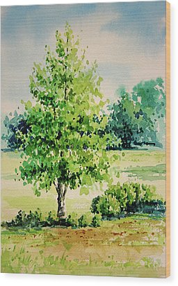 Shalom Park Watercolor Wood Print by Linda Eades Blackburn