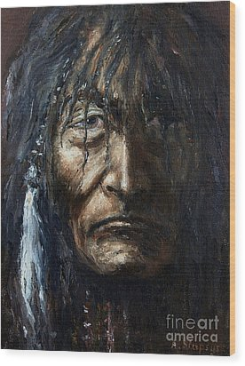 Wood Print featuring the painting Shaman by Arturas Slapsys