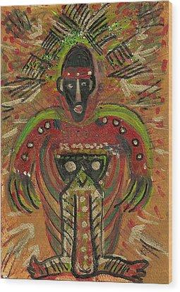 Shaman Says Walk Softly And Carry A Big Schtik Wood Print by Anne-Elizabeth Whiteway