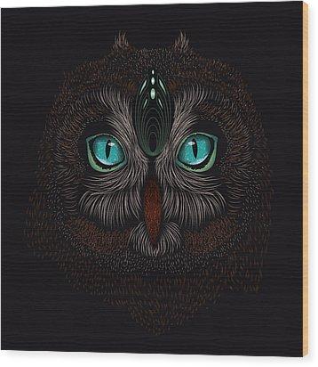 Shaman Spirit Owl Wood Print