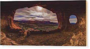 Shaman's Cave By Moonlight Wood Print by ABeautifulSky Photography
