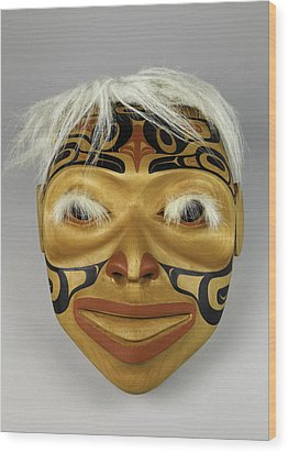 Shaman's Mask Wood Print by Gary Dean Mercer Clark