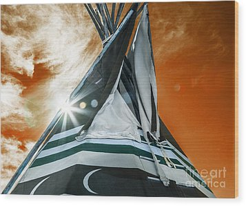 Shamans Tipi Wood Print by Roselynne Broussard