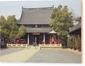 Shanghai Confucius Temple - Wen Miao - Main Temple Building Wood Print by Christine Till