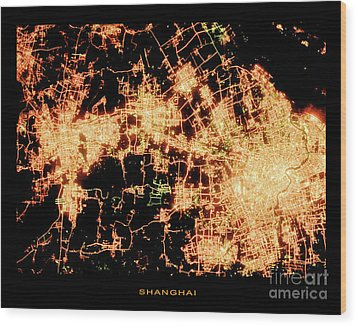 Wood Print featuring the photograph Shanghai From Space by Delphimages Photo Creations