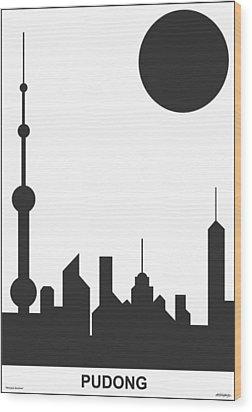 Shanghai Sunshine Black White Wood Print by Asbjorn Lonvig