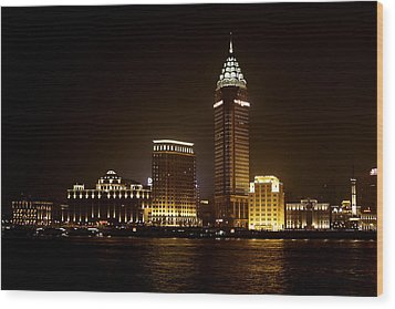 Shanghai's Bund Is Back To Its Best Wood Print by Christine Till