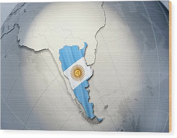 Shape And Ensign Of Argentina On A Globe Wood Print by Dieter Spannknebel