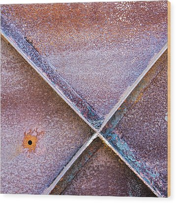 Wood Print featuring the photograph Shapes And Textures On Bunker Door by Gary Slawsky