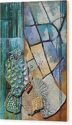 Shards Water Clay And Fire Wood Print by Suzanne McKee
