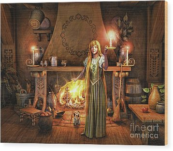 Share My Fire And Candle Light Wood Print by Dave Luebbert